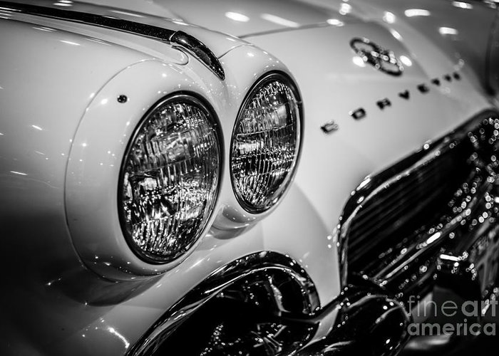 1950's Greeting Card featuring the photograph 1950's Chevrolet Corvette C1 In Black And White by Paul Velgos