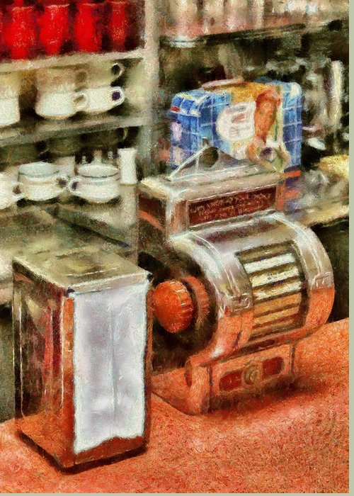 American Diner Greeting Card featuring the photograph 1950's - The Greasy Spoon by Mike Savad