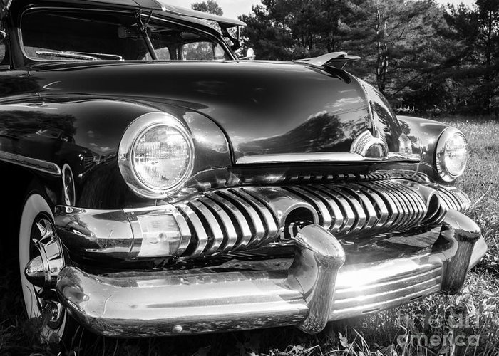 Ford Mercury Coupe 1950s American Graffiti Car Classic Vintage Old Grill Chrome Black White Hot Rod Street V8 Hood Ornament 1951 Greeting Card featuring the photograph 1951 Mercury Coupe - American Graffiti by Edward Fielding