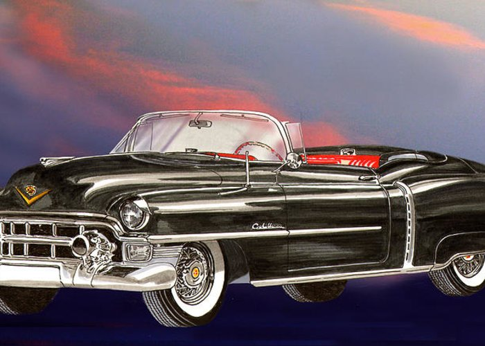 Jclassic Car Paintings Greeting Card featuring the painting 1953 Cadillac El Dorardo Convertible by Jack Pumphrey