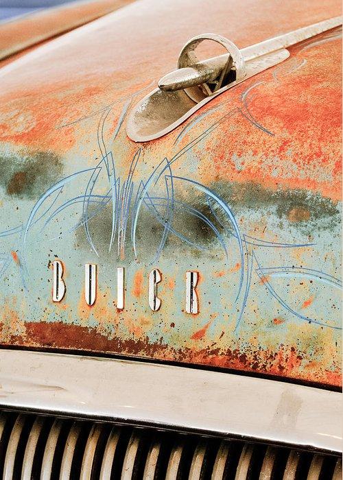 1954 Buick Special Hood Ornament Greeting Card featuring the photograph 1954 Buick Special Hood Ornament by Jill Reger