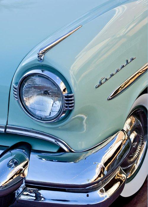 1954 Lincoln Capri Greeting Card featuring the photograph 1954 Lincoln Capri Headlight by Jill Reger