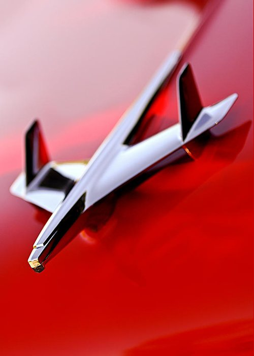 1955 Chevrolet Belair Nomad Hood Ornament Greeting Card featuring the photograph 1955 Chevrolet Belair Nomad Hood Ornament by Jill Reger