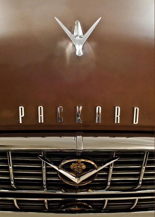 1955 Packard 400 Greeting Card featuring the photograph 1955 Packard 400 Hood Ornament by Jill Reger