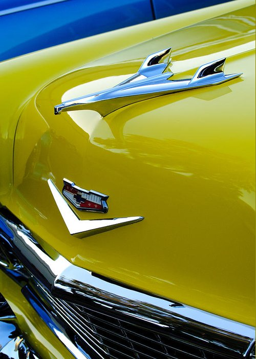 1956 Chevrolet Greeting Card featuring the photograph 1956 Chevrolet Hood Ornament 3 by Jill Reger