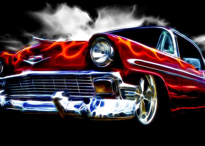 Red Street Rod Greeting Card featuring the photograph 1956 Flamin Chevrolet by Phil 'motography' Clark