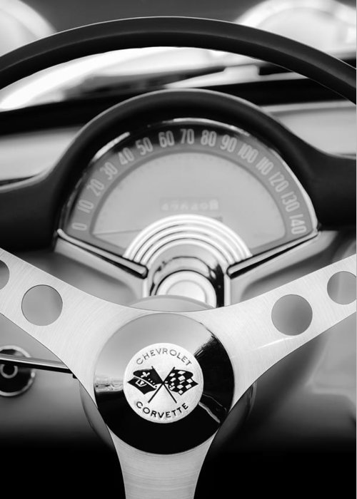 1957 Chevrolet Corvette Convertible Greeting Card featuring the photograph 1957 Chevrolet Corvette Convertible Steering Wheel 2 by Jill Reger