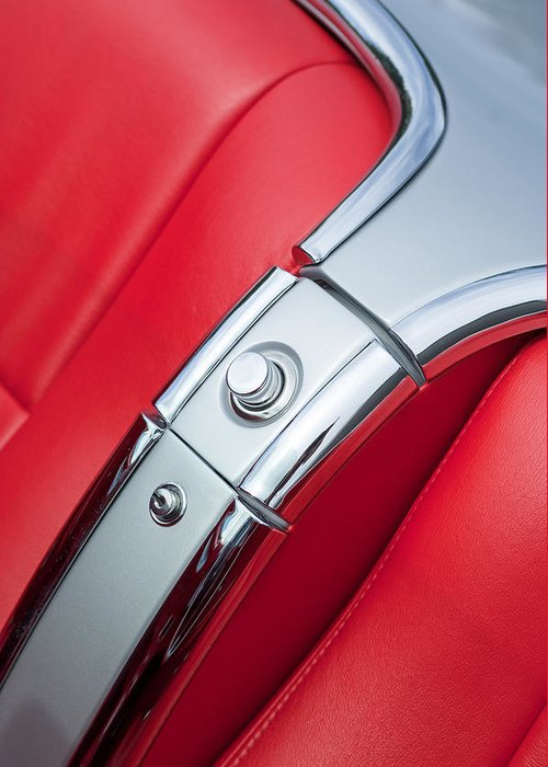 1960 Chevrolet Corvette Compartment Greeting Card featuring the photograph 1960 Chevrolet Corvette Compartment by Jill Reger
