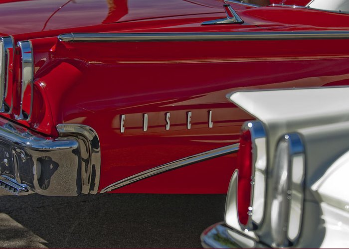 1960 Edsel Greeting Card featuring the photograph 1960 Edsel Taillight by Jill Reger