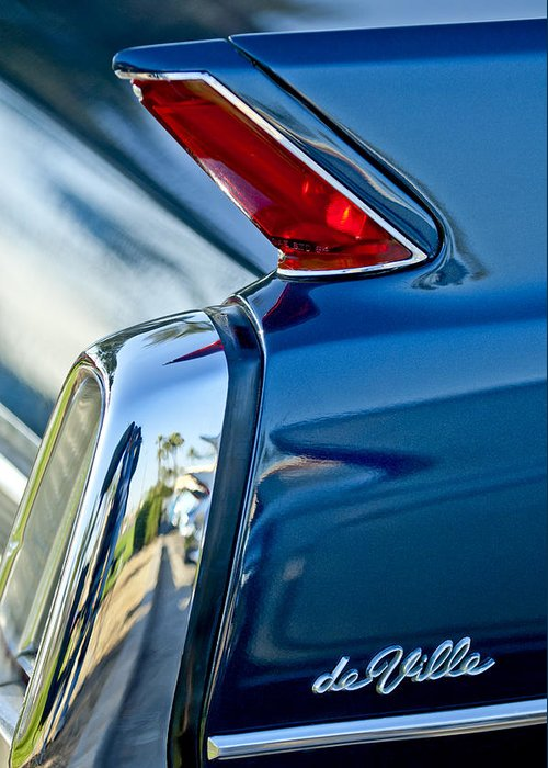 1962 Cadillac Deville Greeting Card featuring the photograph 1962 Cadillac Deville Taillight by Jill Reger