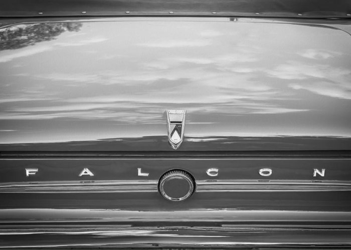 1963 Ford Falcon Sprint Greeting Card featuring the photograph 1963 Ford Falcon Sprint Convertible Bw  by Rich Franco