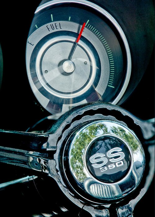 1967 Chevrolet Camaro Ss Steering Wheel Emblem Emblem Greeting Card featuring the photograph 1967 Chevrolet Camaro Ss Steering Wheel Emblem Emblem by Jill Reger