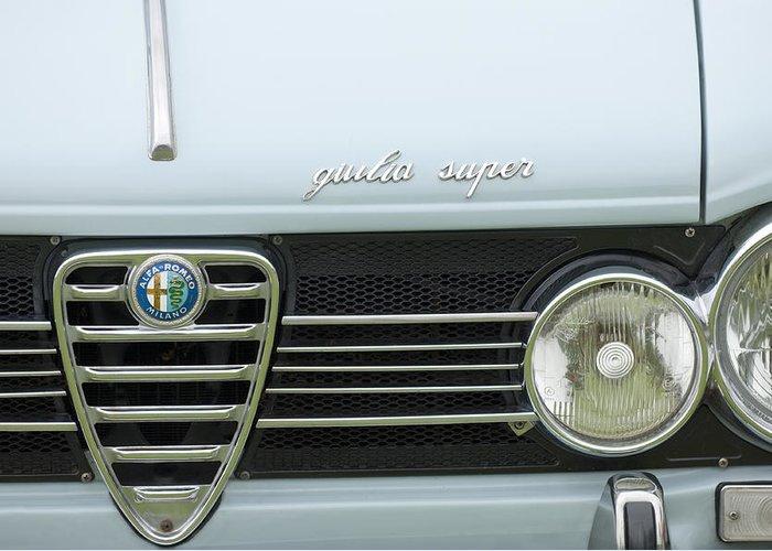 1968 Alfa Romeo Giulia Super Greeting Card featuring the photograph 1968 Alfa Romeo Giulia Super Grille by Jill Reger
