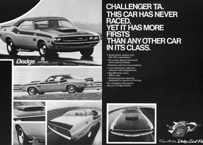 1970 Greeting Card featuring the digital art 1970 Dodge Challenger T/a by Digital Repro Depot