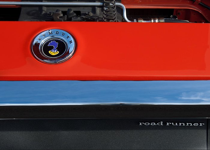 1972 Plymouth Road Runner Hood Emblem Greeting Card featuring the photograph 1972 Plymouth Road Runner Hood Emblem by Jill Reger