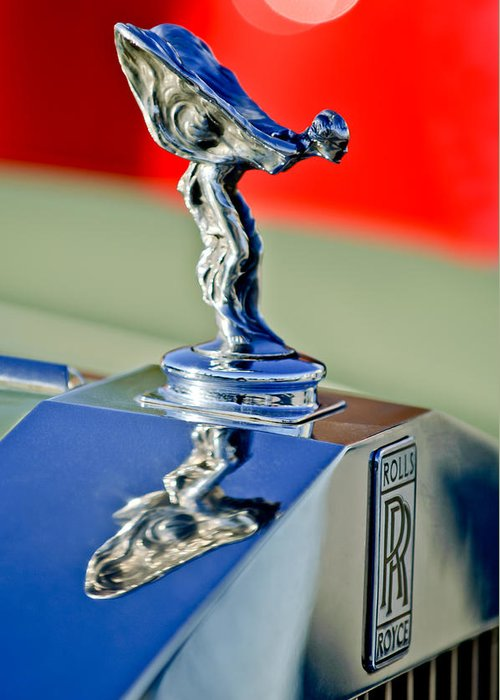 1976 Rolls Royce Silver Shadow Greeting Card featuring the photograph 1976 Rolls Royce Silver Shadow Hood Ornament by Jill Reger