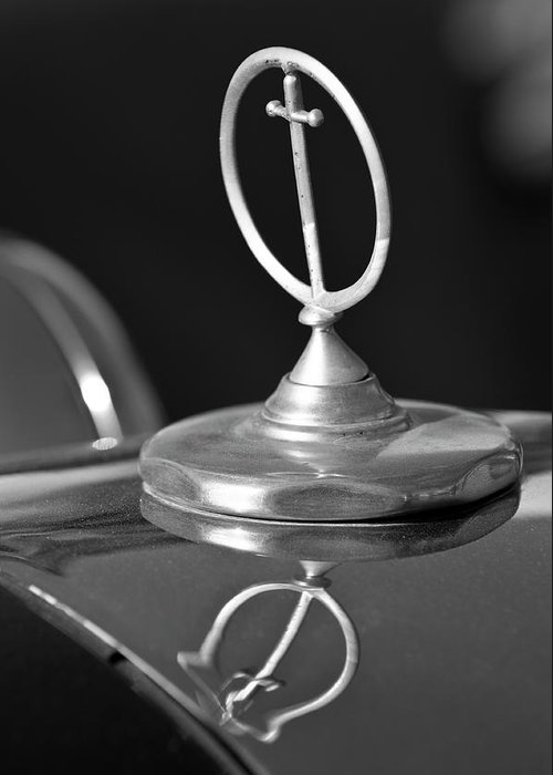 1984 Excalibur Greeting Card featuring the photograph 1984 Excalibur Roadster Hood Ornament 2 by Jill Reger