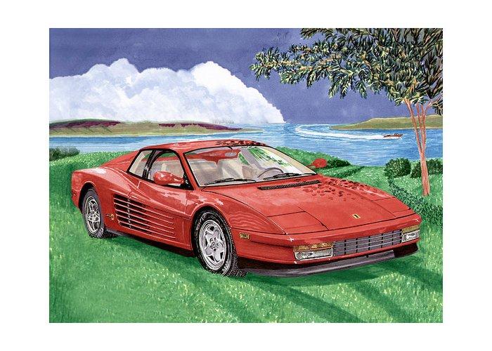 1987 Ferrari Testarosa Watercolor Art By Jack Pumphrey Greeting Card featuring the painting 1987 Ferrari Testarosa by Jack Pumphrey