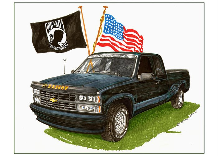 1988 Chevrolet Silverado Missing In Action Tribute Greeting Card featuring the painting 1988 Chevrolet M I A Tribute by Jack Pumphrey