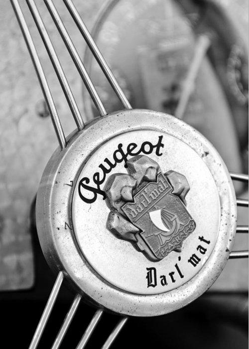 1937 Peugeot 402 Darl'mat Legere Special Sport Roadster Recreation Steering Wheel Emblem Greeting Card featuring the photograph 1937 Peugeot 402 Darl'mat Legere Special Sport Roadster Recreation Steering Wheel Emblem by Jill Reger