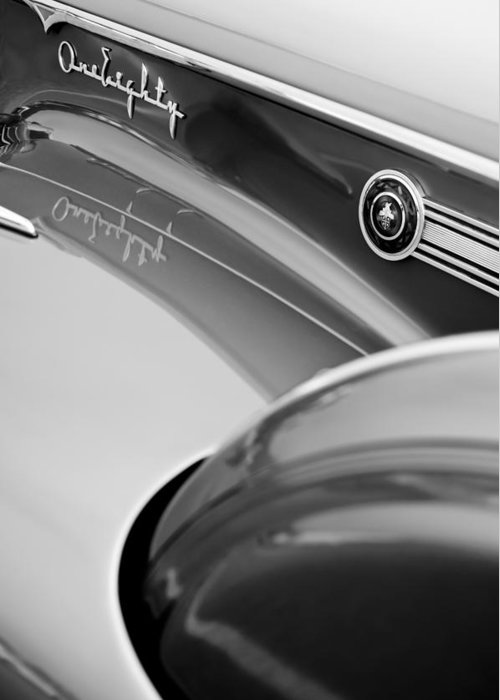 1941 Packard 1907 Custom Eight One-eighty Lebaron Sport Brougham Side Emblems Greeting Card featuring the photograph 1941 Packard 1907 Custom Eight One-eighty Lebaron Sport Brougham Side Emblems by Jill Reger