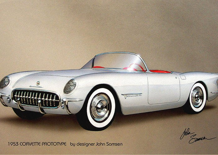 Automotive Art Greeting Card featuring the painting 1953 Corvette Classic Vintage Sports Car Automotive Art by John Samsen