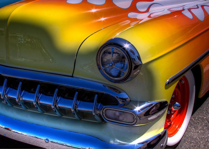 54 Greeting Card featuring the photograph 1954 Chevy Bel Air Custom Hot Rod by David Patterson