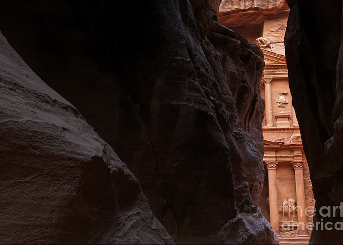 Petra Greeting Card featuring the photograph A Glimpse Of Al Khazneh From The Siq In Petra Jordan by Robert Preston