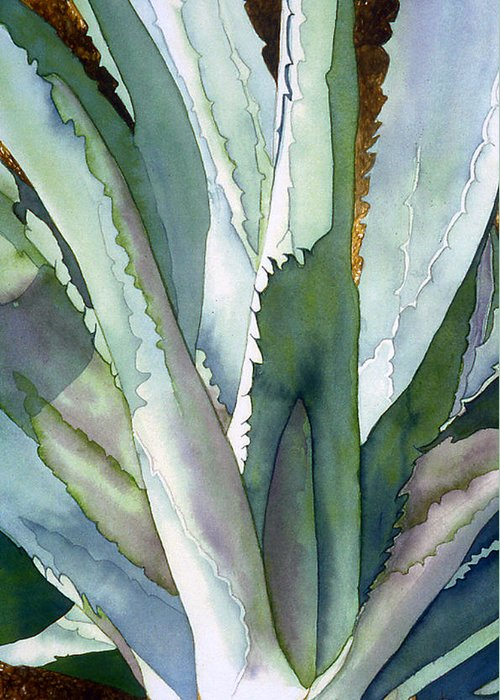 Botanical Greeting Card featuring the painting Agave 1 by Eunice Olson