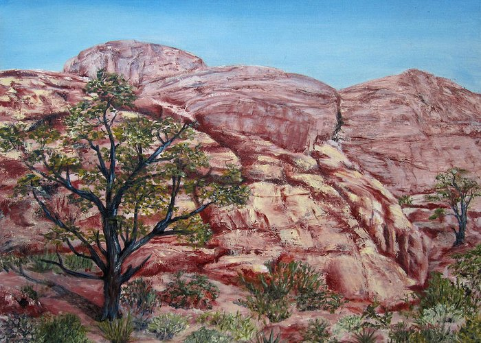 Landscape Greeting Card featuring the painting Among The Red Rocks by Roseann Gilmore