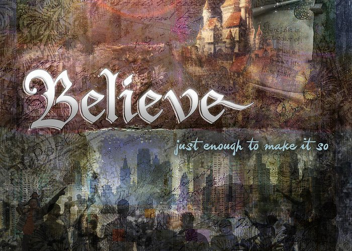 Inspirational Art Greeting Card featuring the digital art Believe by Evie Cook