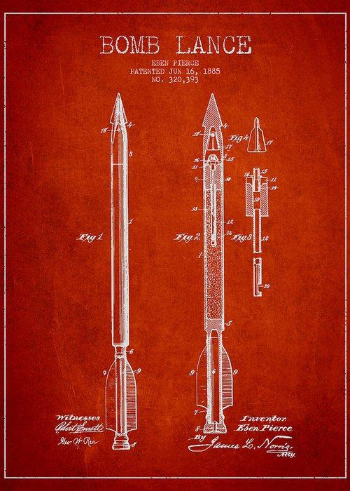 Bomb Greeting Card featuring the drawing Bomb Lance Patent Drawing From 1885 by Aged Pixel