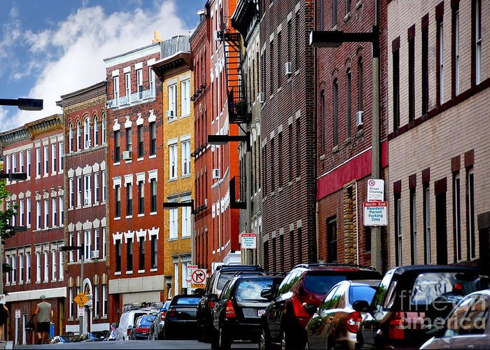 House Greeting Card featuring the photograph Boston Street by Elena Elisseeva