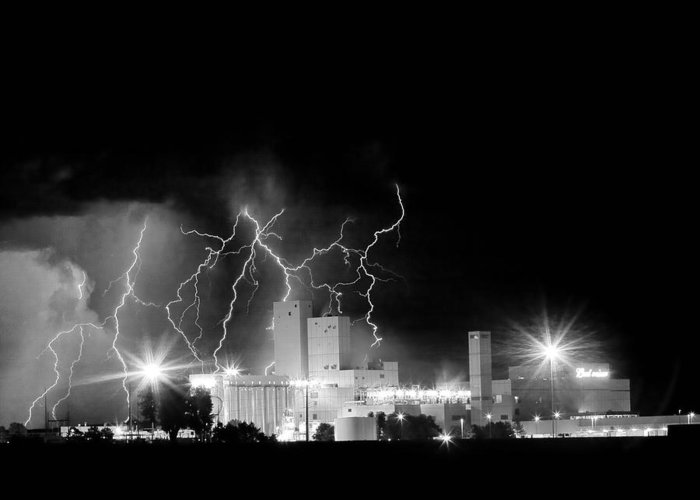 Lightning Greeting Card featuring the photograph Budweiser Lightning Thunderstorm Moving Out Bw by James BO Insogna