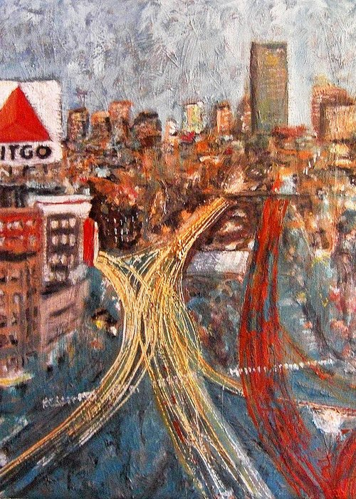 Boston Greeting Card featuring the painting Car Lights by Romina Diaz-Brarda