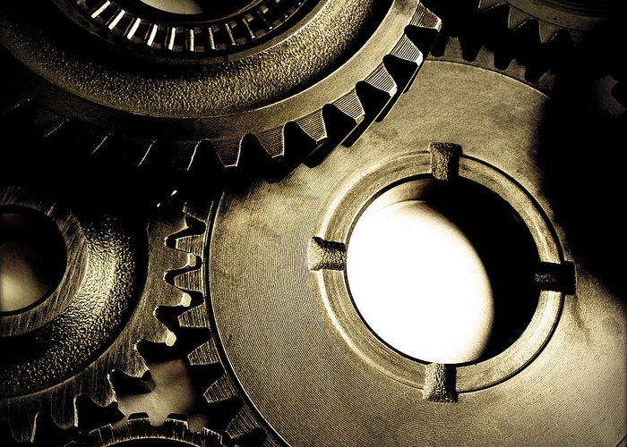 Gearing Greeting Card featuring the photograph Cogs by Les Cunliffe
