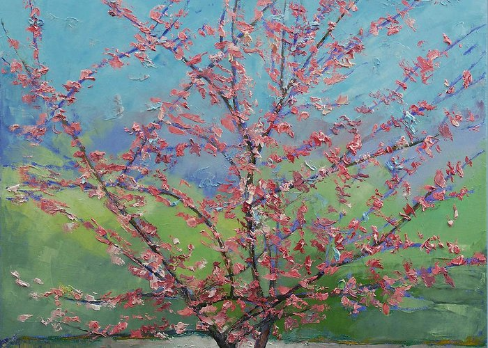 Eastern Greeting Card featuring the painting Eastern Redbud Tree by Michael Creese