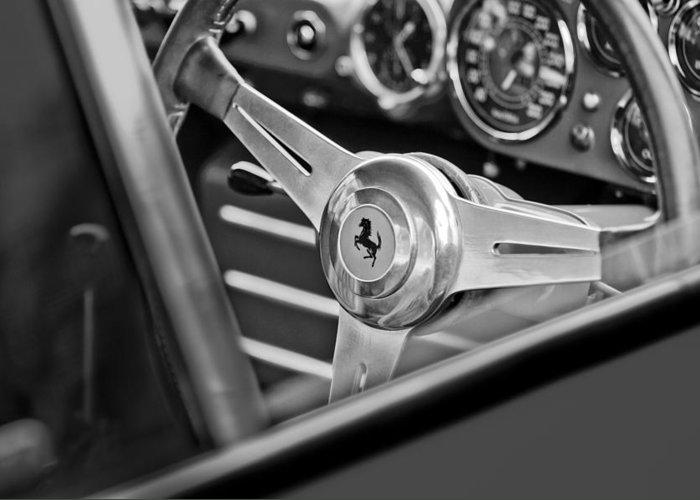 Ferrari Steering Wheel Greeting Card featuring the photograph Ferrari Steering Wheel by Jill Reger