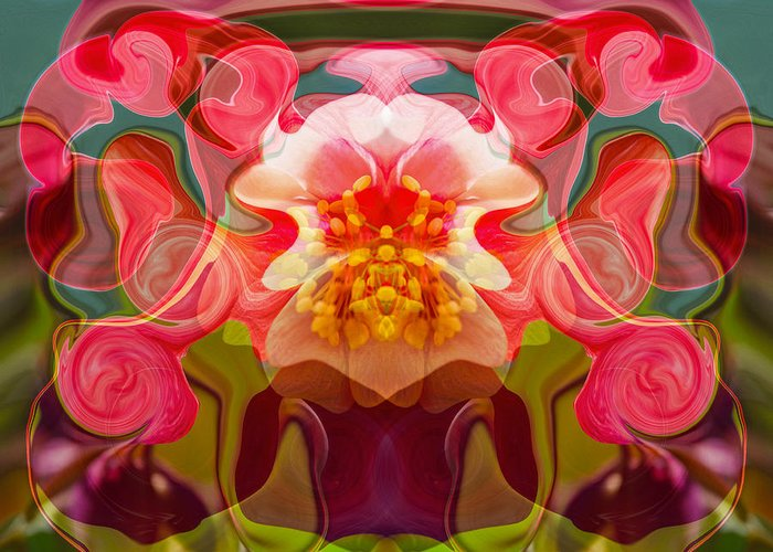 Abstract Greeting Card featuring the painting Flower Child by Omaste Witkowski