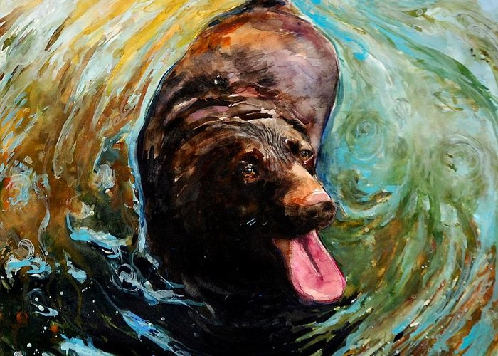 Chocolate Labrador Retriever Greeting Card featuring the painting Fudge Ripple by Molly Poole