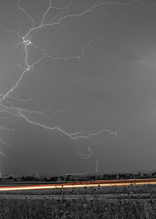 Lightning Greeting Card featuring the photograph Lightning Thunderstorm Dragon by James BO Insogna