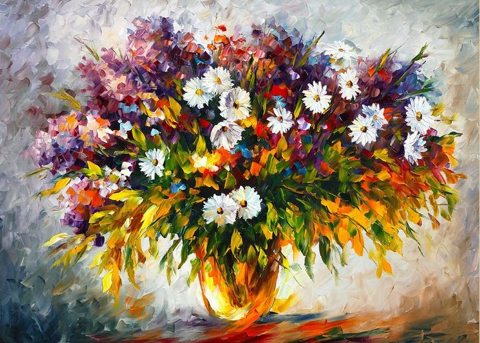 Afremov Greeting Card featuring the painting Lilac And Camomiles by Leonid Afremov