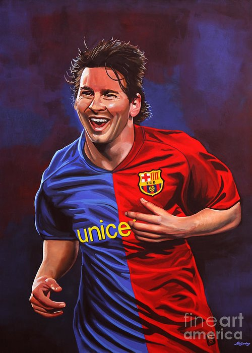 Lionel Messi Greeting Card featuring the painting Lionel Messi by Paul Meijering