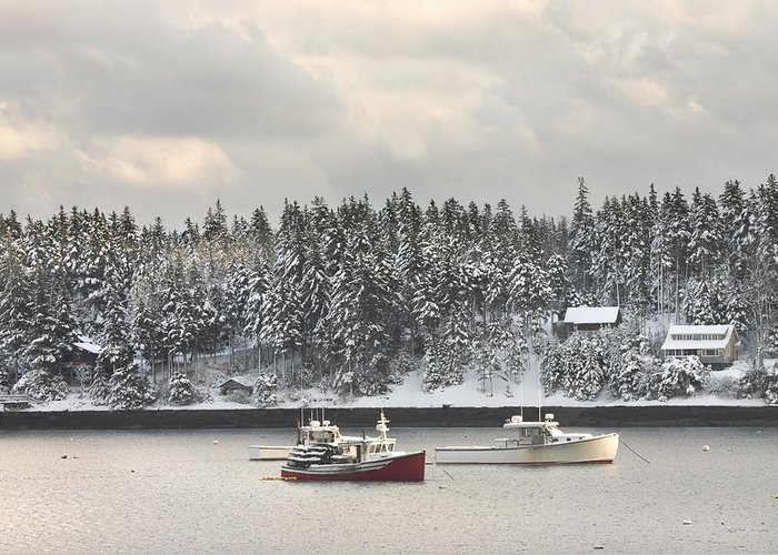 Tenants Harbor Greeting Card featuring the photograph Lobster Boats After Snowstorm In Tenants Harbor Maine by Keith Webber Jr