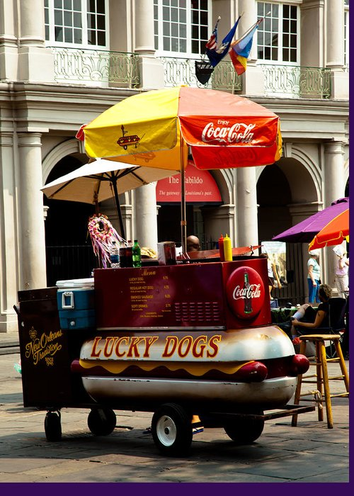 New Orleans Greeting Card featuring the photograph Lucky Dogs by Susie Hoffpauir