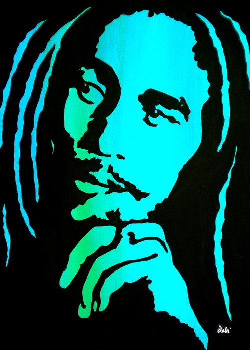 Bob Marley Greeting Card featuring the painting Marley by Debi Starr