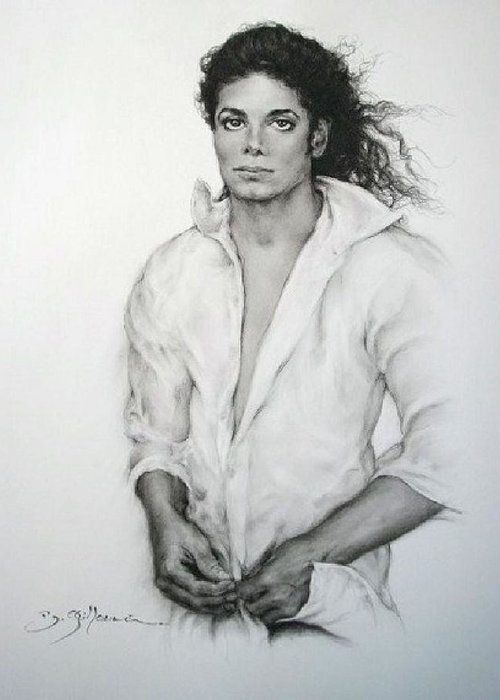 Michael Jackson Greeting Card featuring the drawing Michael Jackson by Guillaume Bruno
