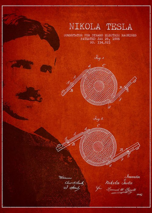 Tesla Greeting Card featuring the drawing Nikola Tesla Patent From 1886 by Aged Pixel