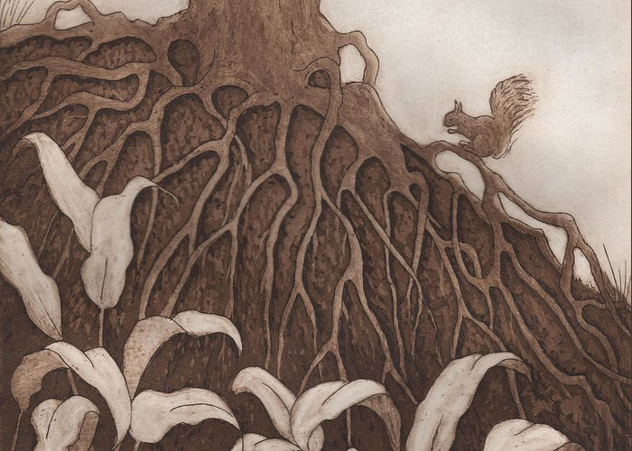 Tree Greeting Card featuring the relief Nut Maze by Suzette Broad