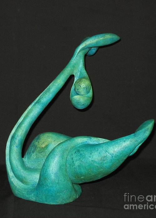 Fired Clay Greeting Cards Greeting Card featuring the sculpture Organic 4 by Flow Fitzgerald